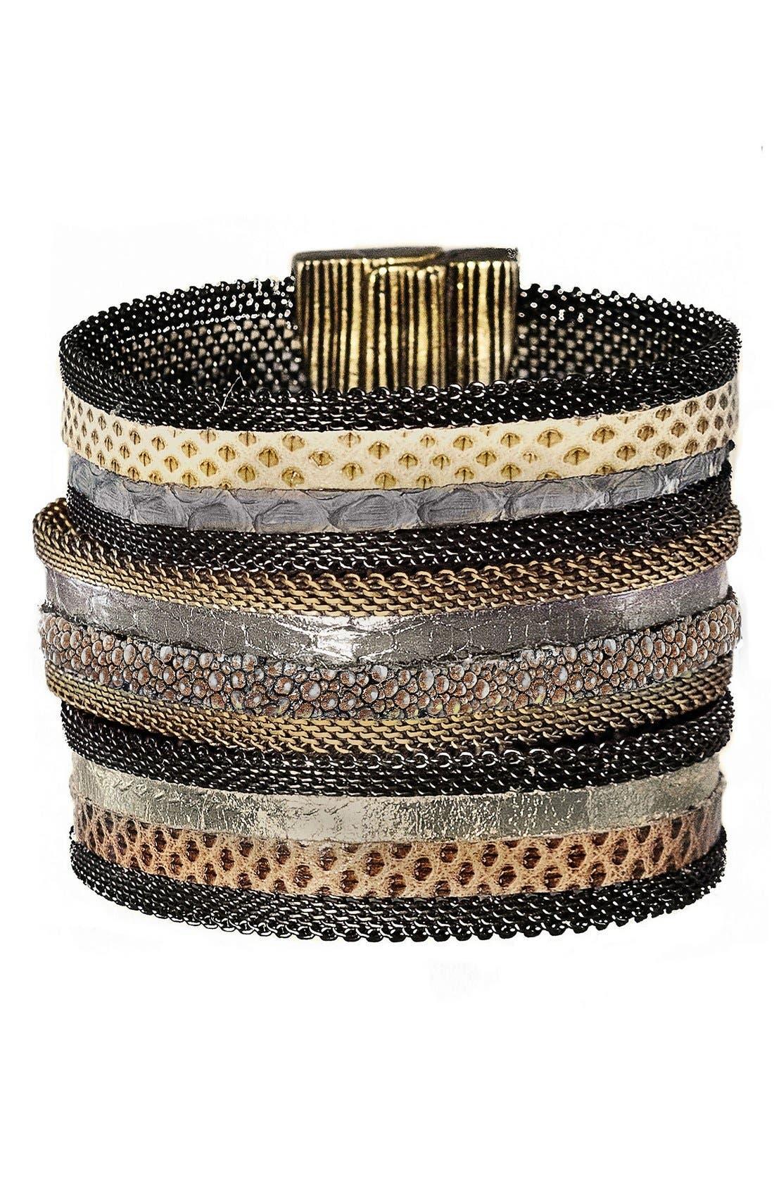 CYNTHIA DESSER Genuine Snakeskin & Stingray Skin Wrist
