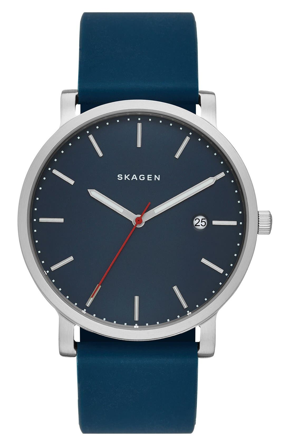Skagen Hagen Round Silicone Strap Watch, 40mm