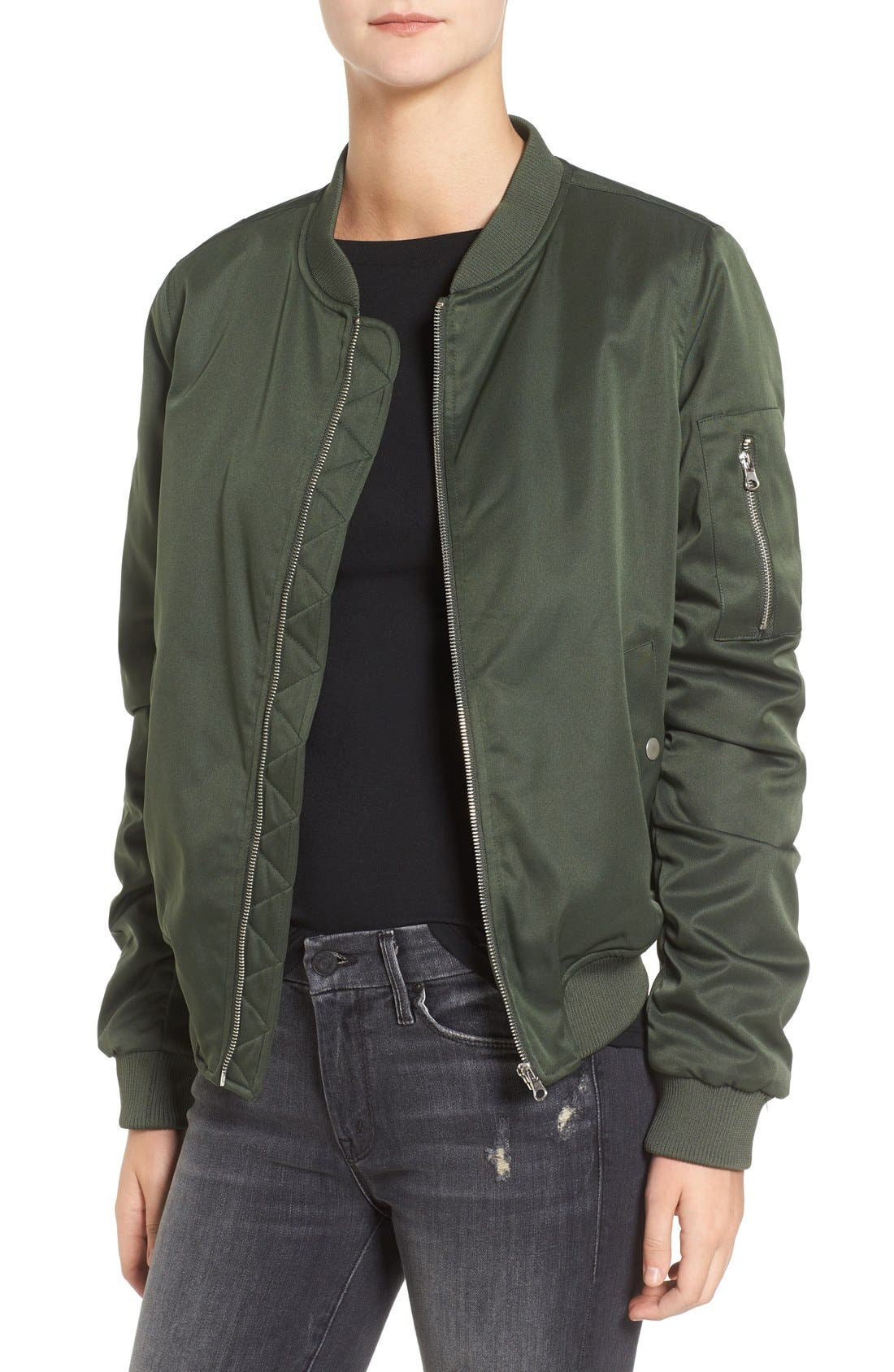BB DAKOTA Atwood Satin Bomber Jacket