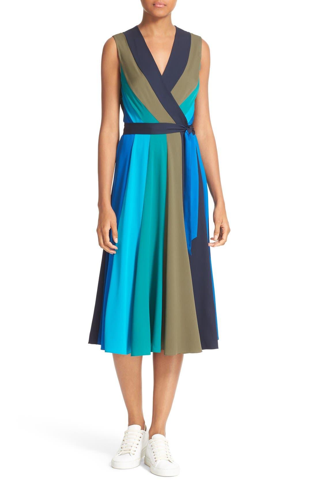Main Image - Diane von Furstenberg Penelope Colorblock Wrap Fit & Flare Dress