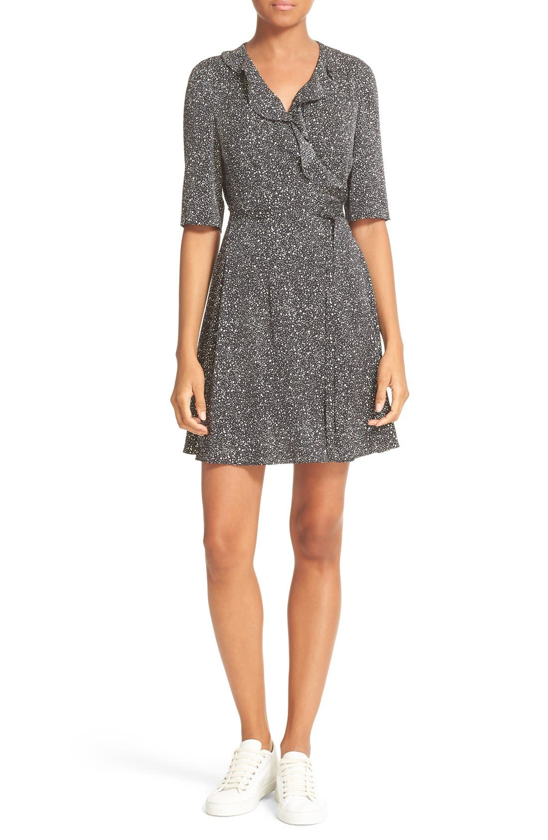 Main Image - Diane von Furstenberg Savilla Print Silk Ruffle Neck Wrap Dress