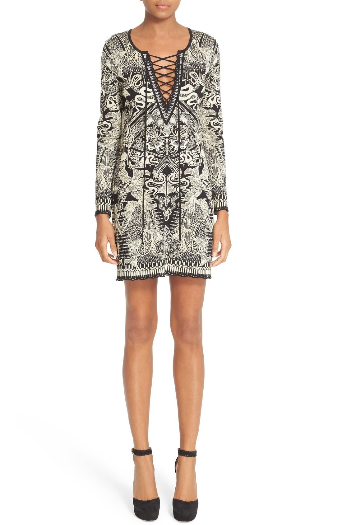 ROBERTO CAVALLI Lace-Up Jacquard Dress