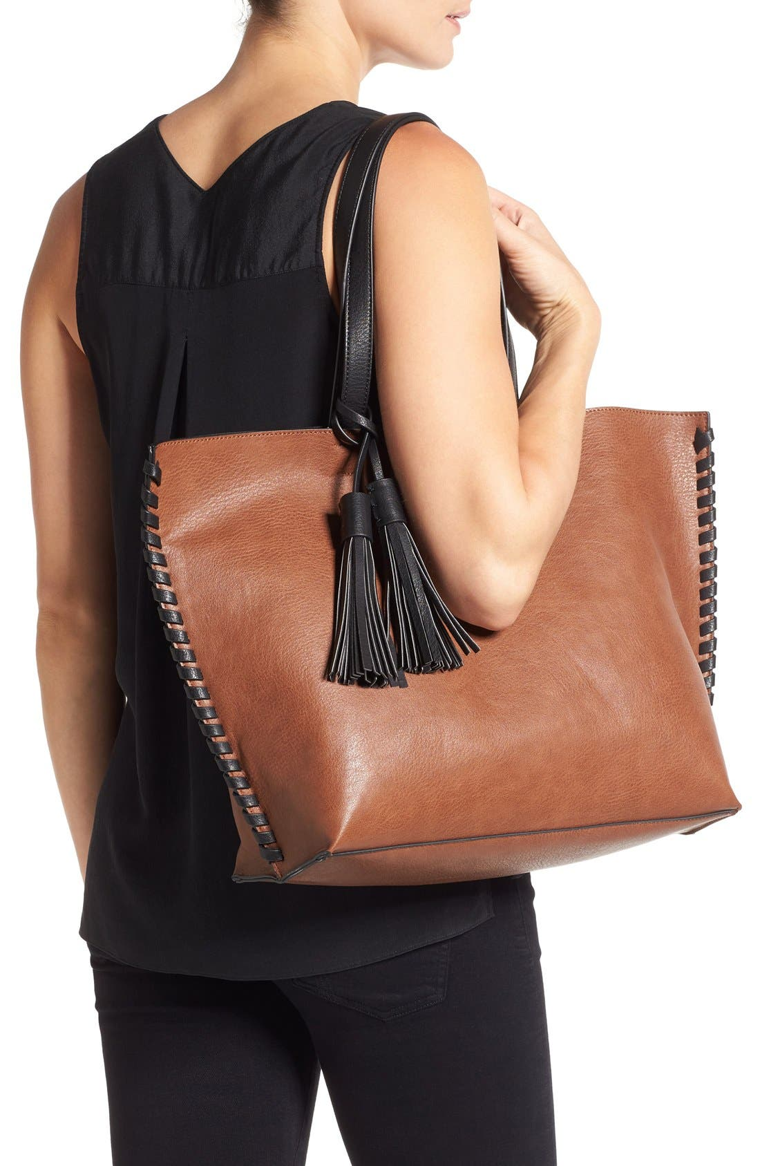 Alternate Image 2  - Phase 3 Whipstitch Tassel Faux Leather Tote