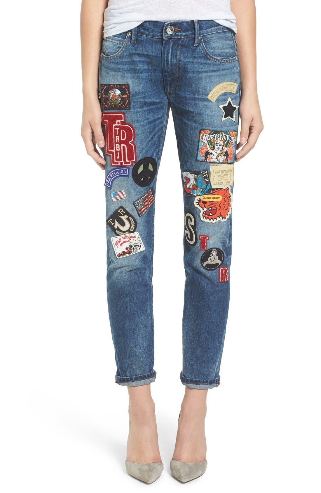Alternate Image 1 Selected - True Religion Brand Jeans Audrey Slim Boyfriend Jeans (Coronet Blue)