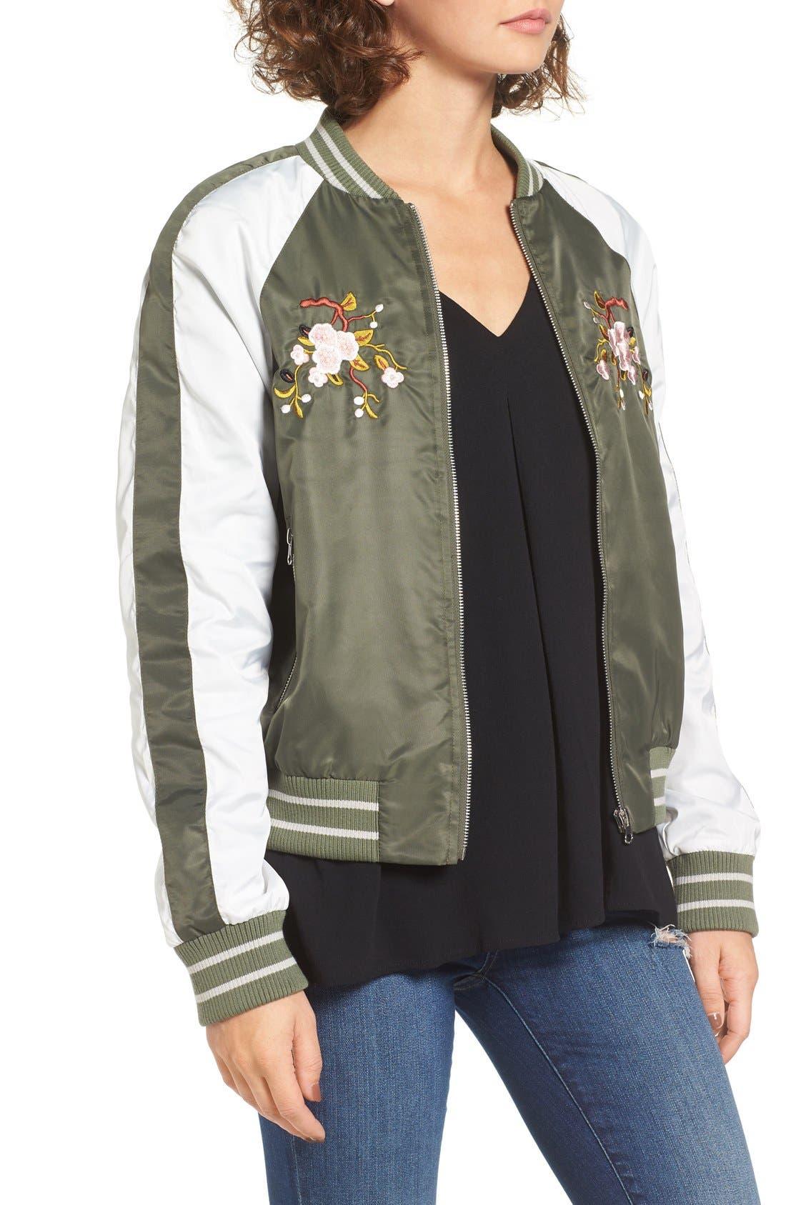 Alternate Image 3  - Glamorous Embroidered Satin Bomber Jacket