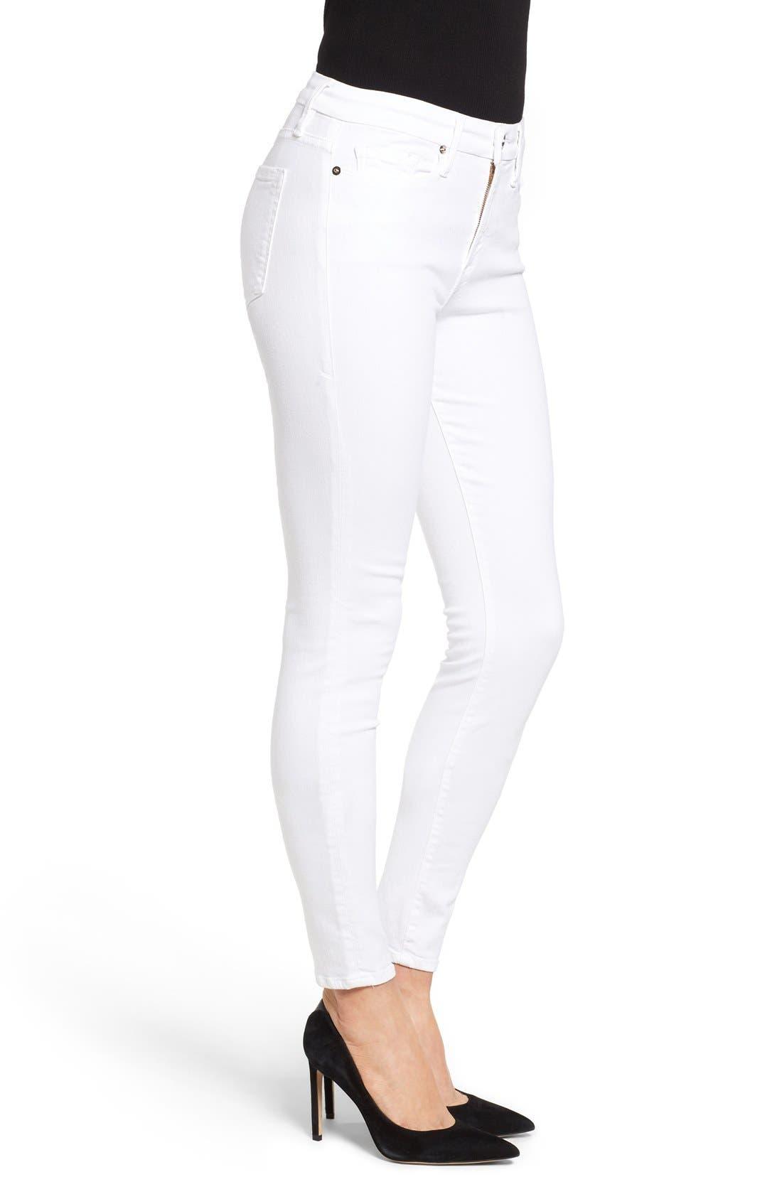 Alternate Image 3  - Good American Good Legs High Rise Skinny Jeans (White 001) (Extended Sizes)