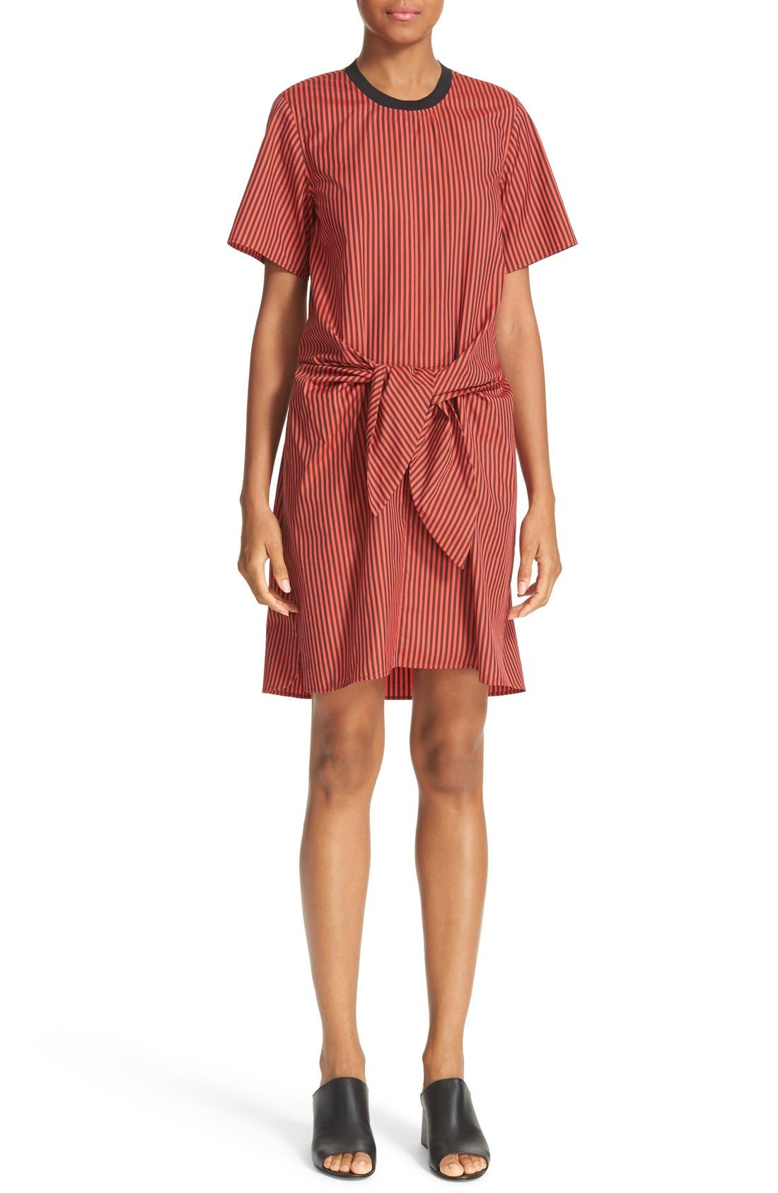 Alternate Image 1 Selected - 3.1 Phillip Lim Stripe Poplin Tie Waist Shirtdress