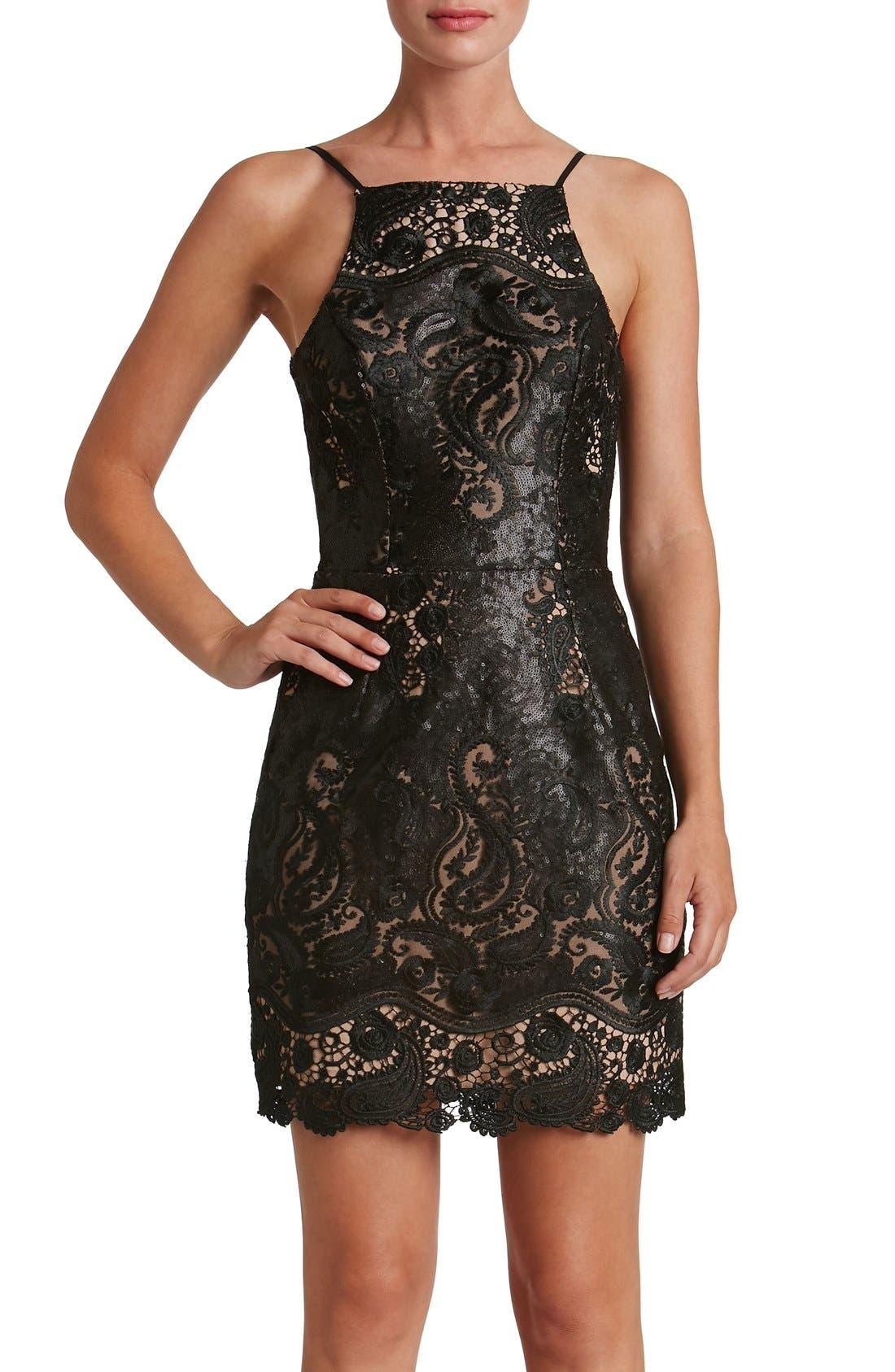 Main Image - Dress the Population Julie Sequin Lace Sheath Dress