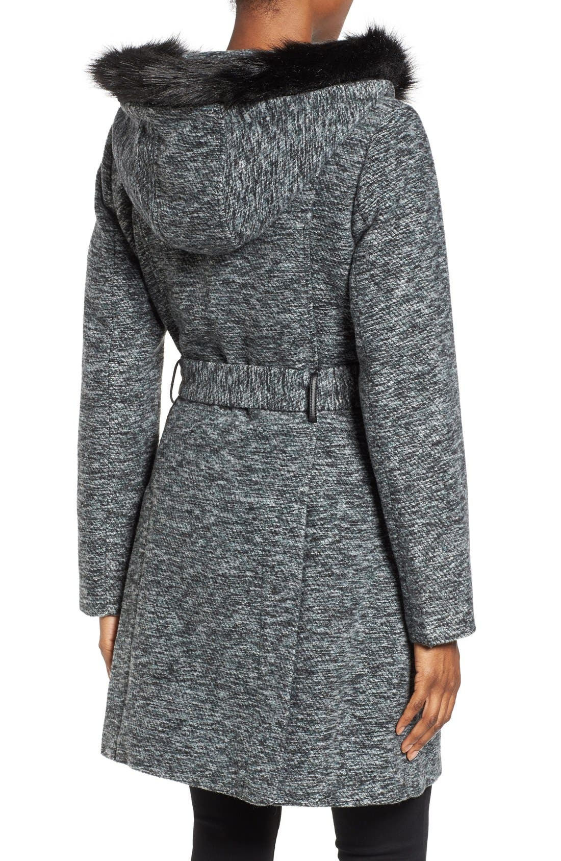 Alternate Image 2  - Steve Madden Asymmetrical Hooded Coat with Faux Fur Trim