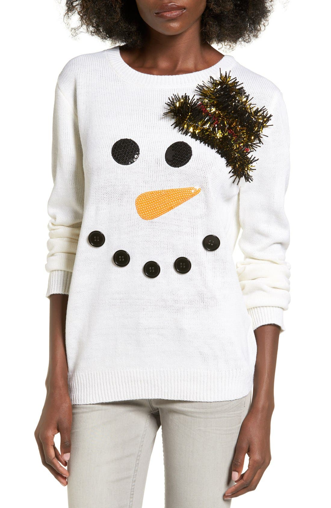 Alternate Image 1 Selected - Ten Sixty Sherman Snowman Embellished Sweater
