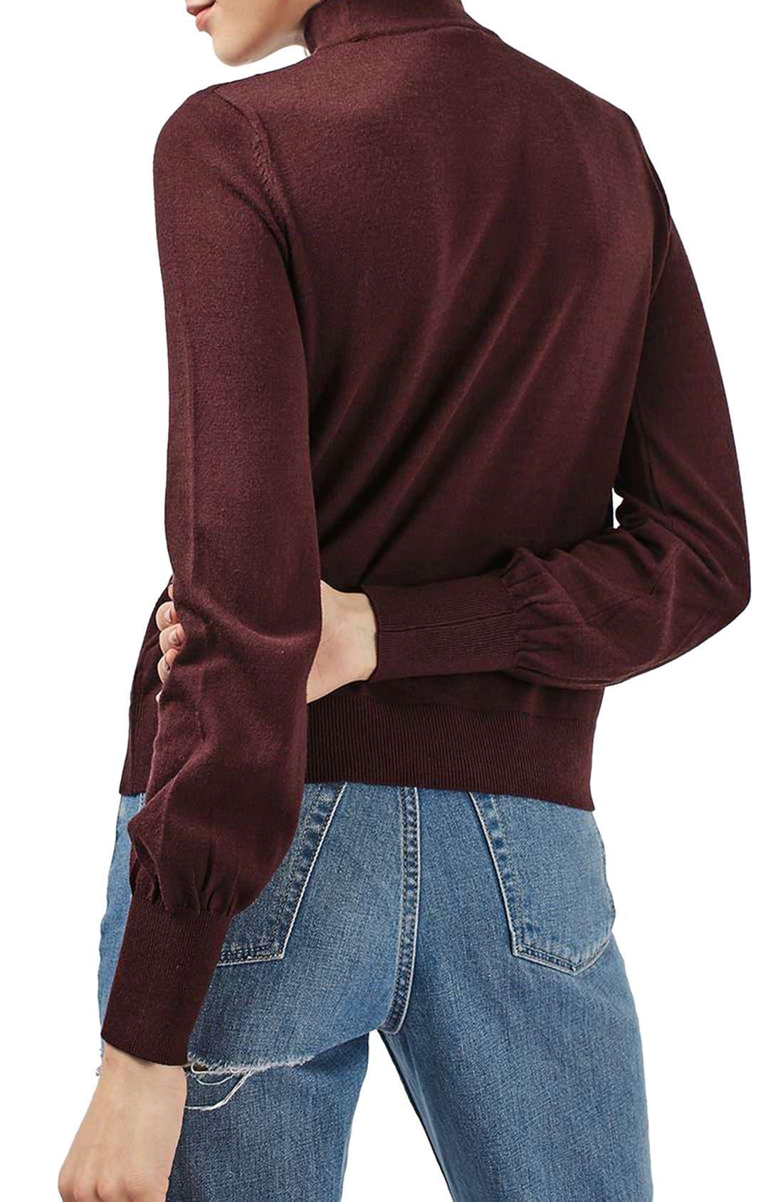 Alternate Image 3  - Topshop Blouson Sleeve Mock Neck Sweater