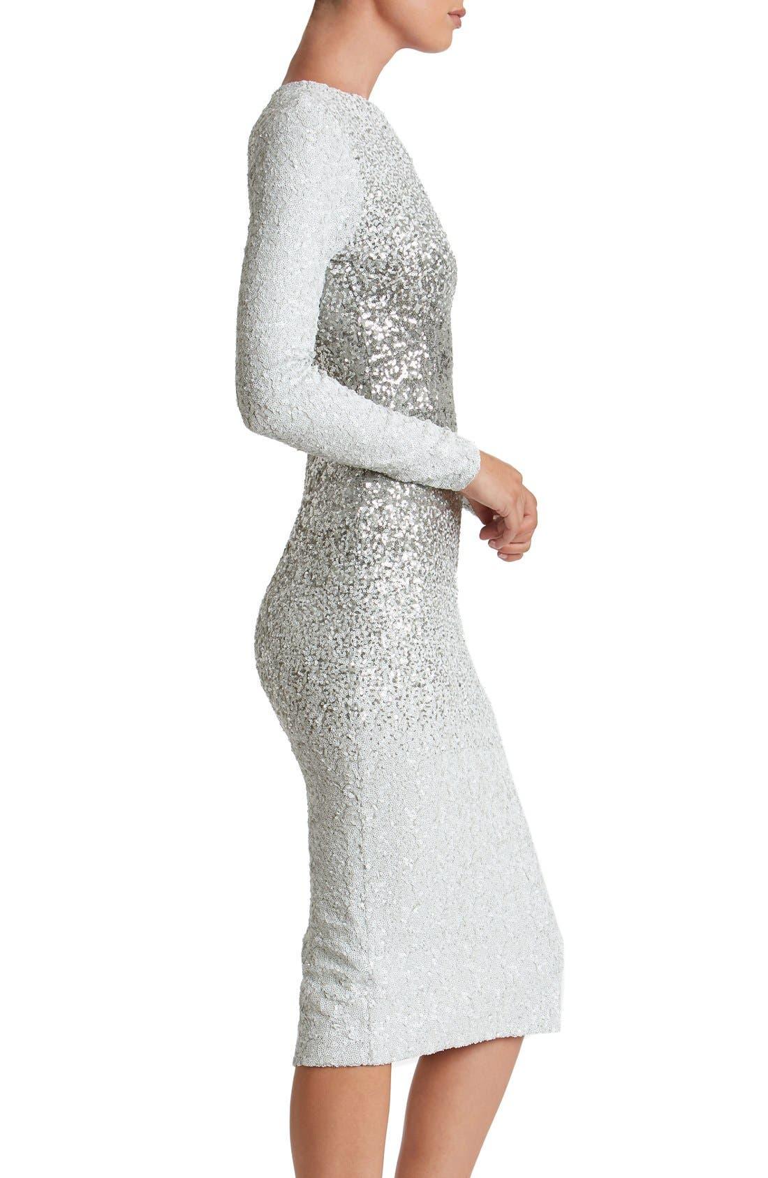Alternate Image 4  - Dress the Population Brooke Sequin Midi Dress