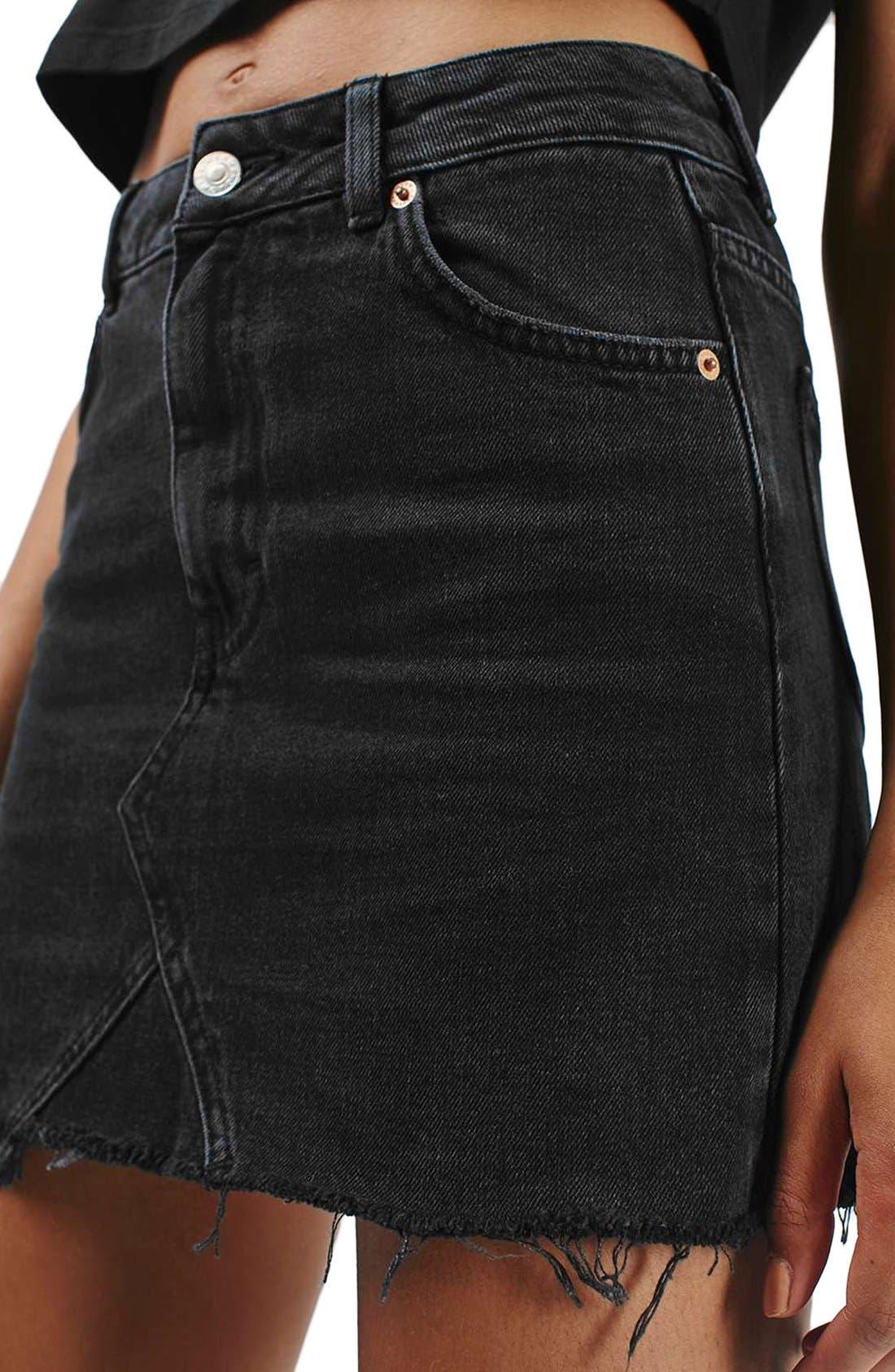 Alternate Image 5  - Topshop Moto Cutoff Denim Miniskirt