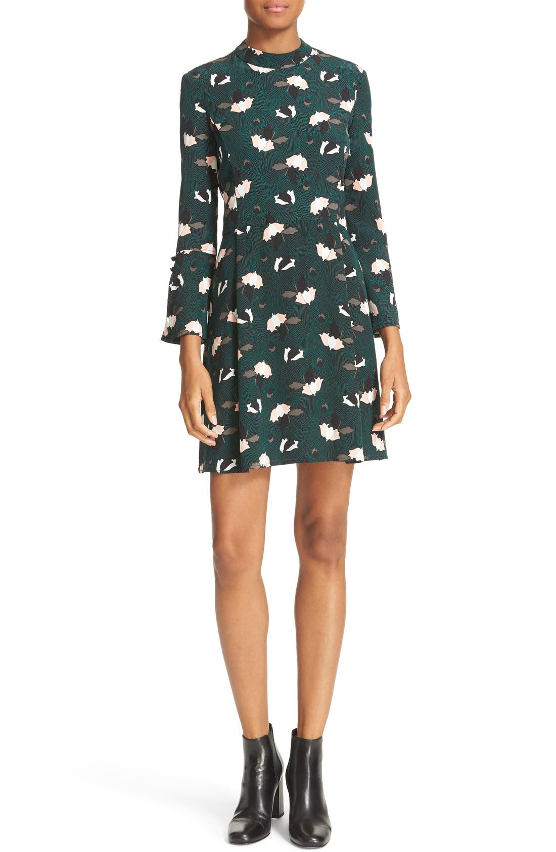 Main Image - Derek Lam 10 Crosby Print silk Bell Sleeve Dress