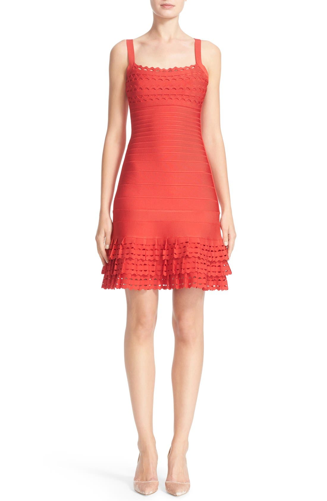 HERVE LEGER Laser Cut Ruffle Hem Bandage Dress