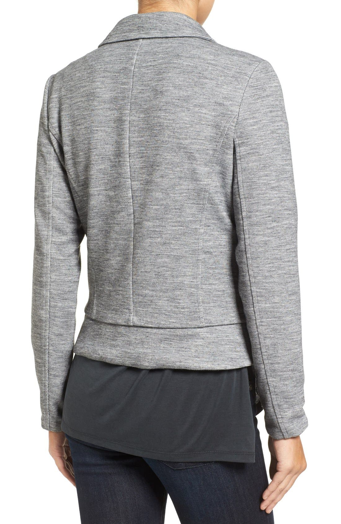 Alternate Image 2  - Halogen® Texture Knit Moto Jacket