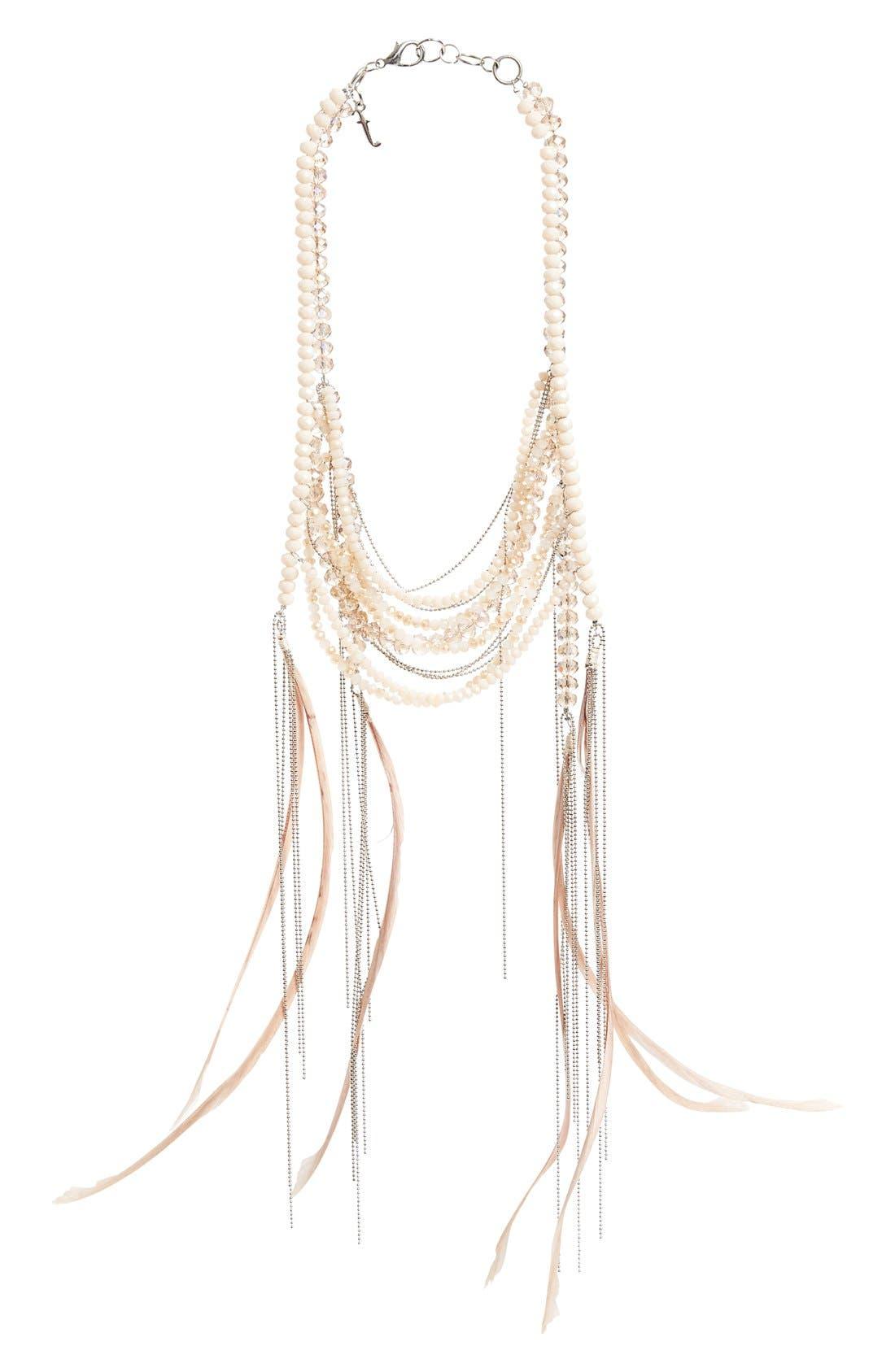 FABIANA FILIPPI Feather & Glass Bead Necklace