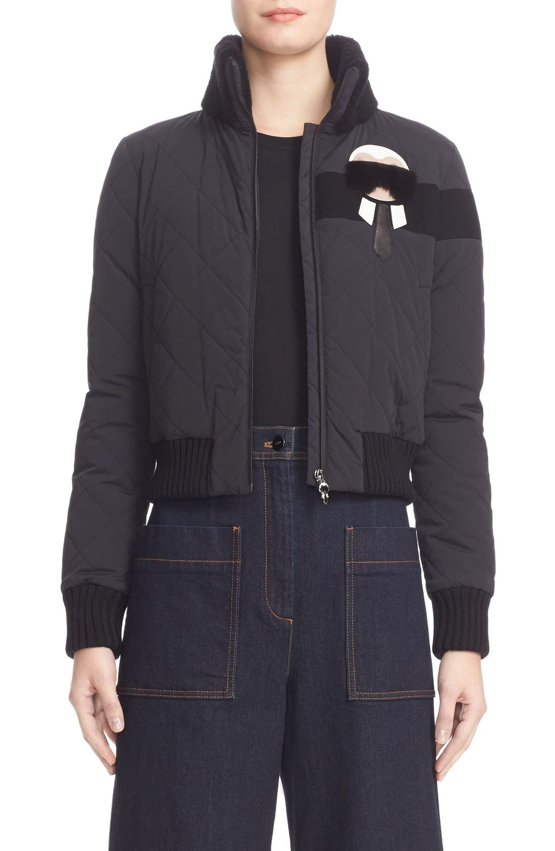 FENDI Karlito Puffer with Genuine Shearling & Fur Trim