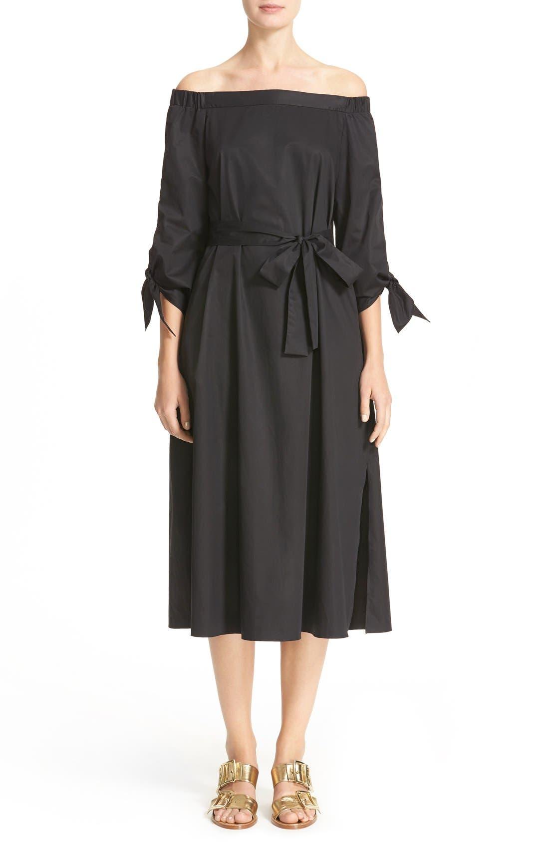 Alternate Image 1 Selected - Tibi Satin Poplin Belted Off the Shoulder Dress