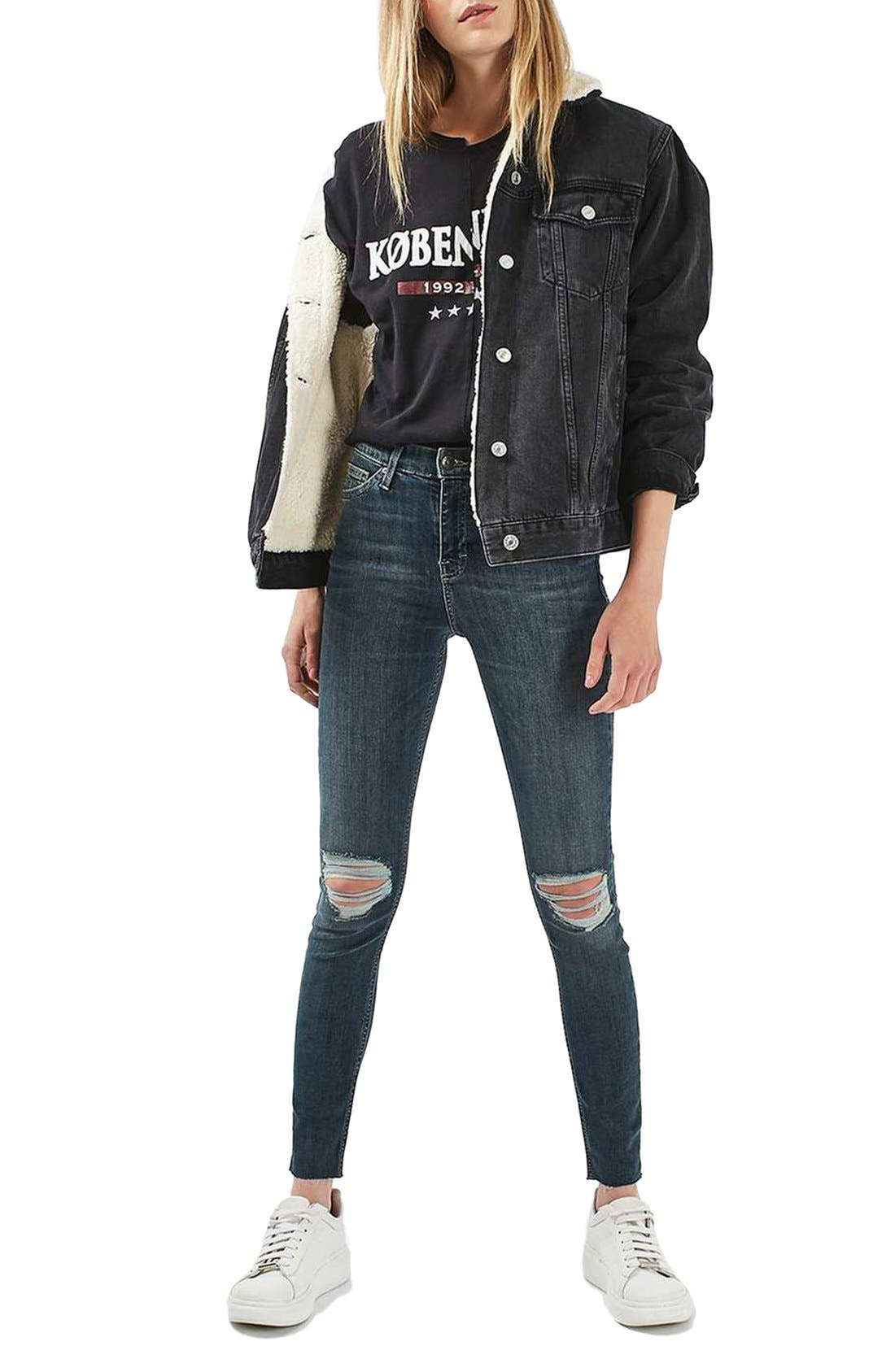 Alternate Image 2  - Topshop Moto Borg Lined Denim Jacket