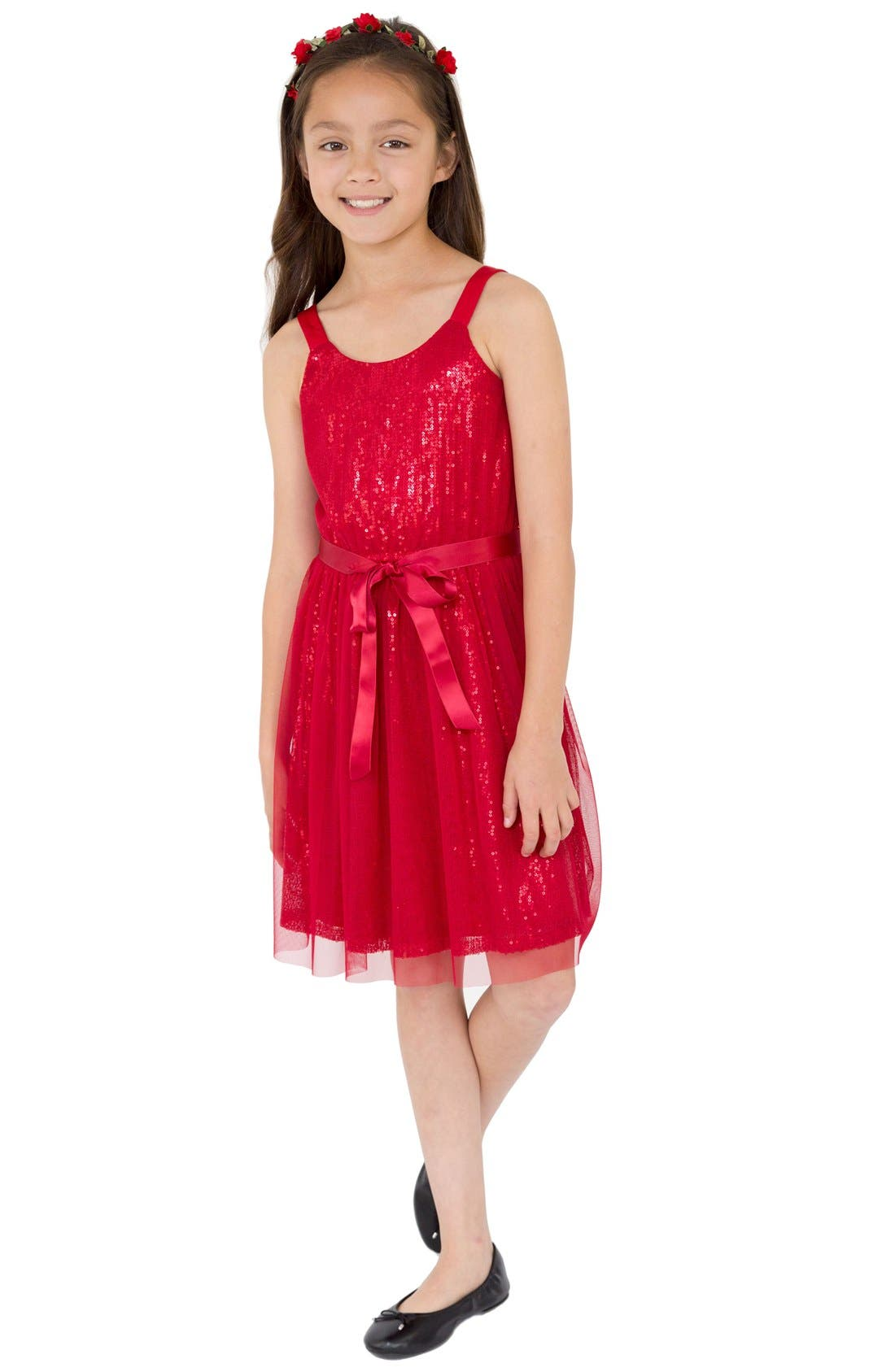 BLUSH BY US ANGELS Sequin Tulle Dress