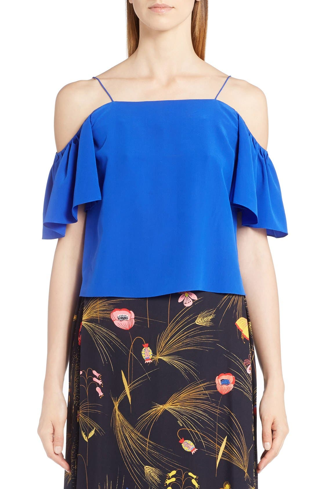 FENDI Silk Off the Shoulder Top