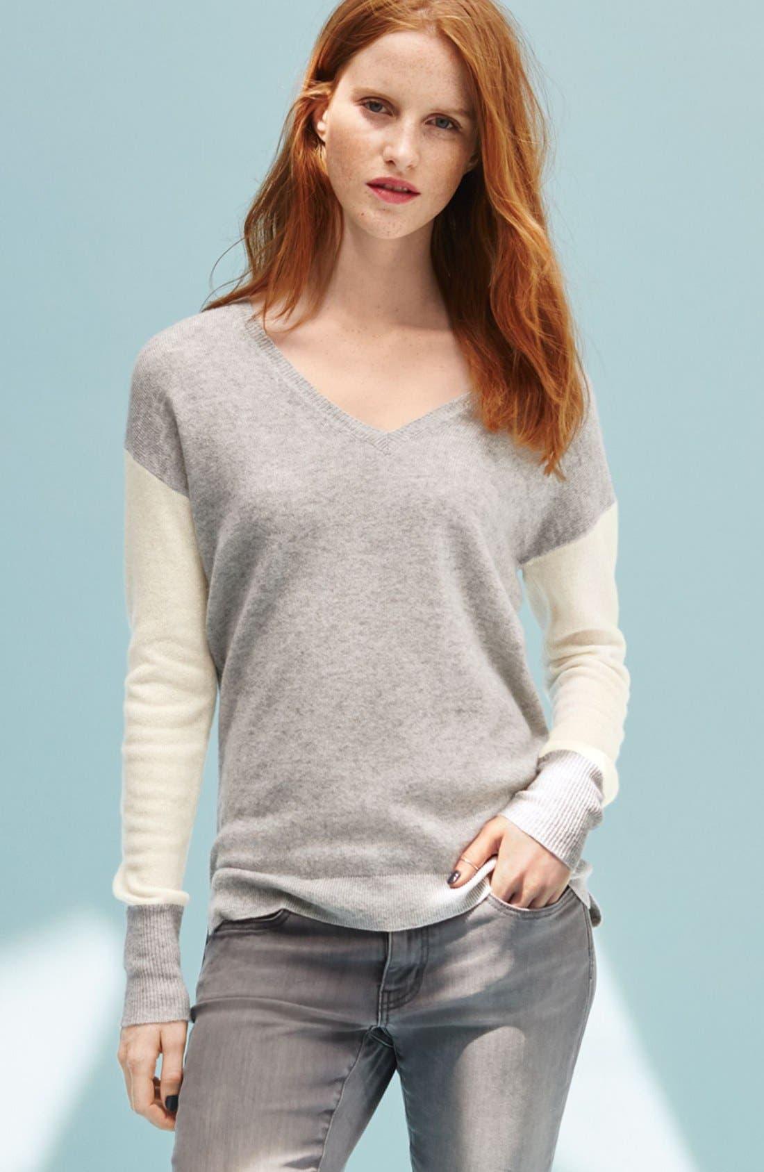 Alternate Image 6  - Halogen® Cashmere V-Neck Sweater (Regular & Petite)