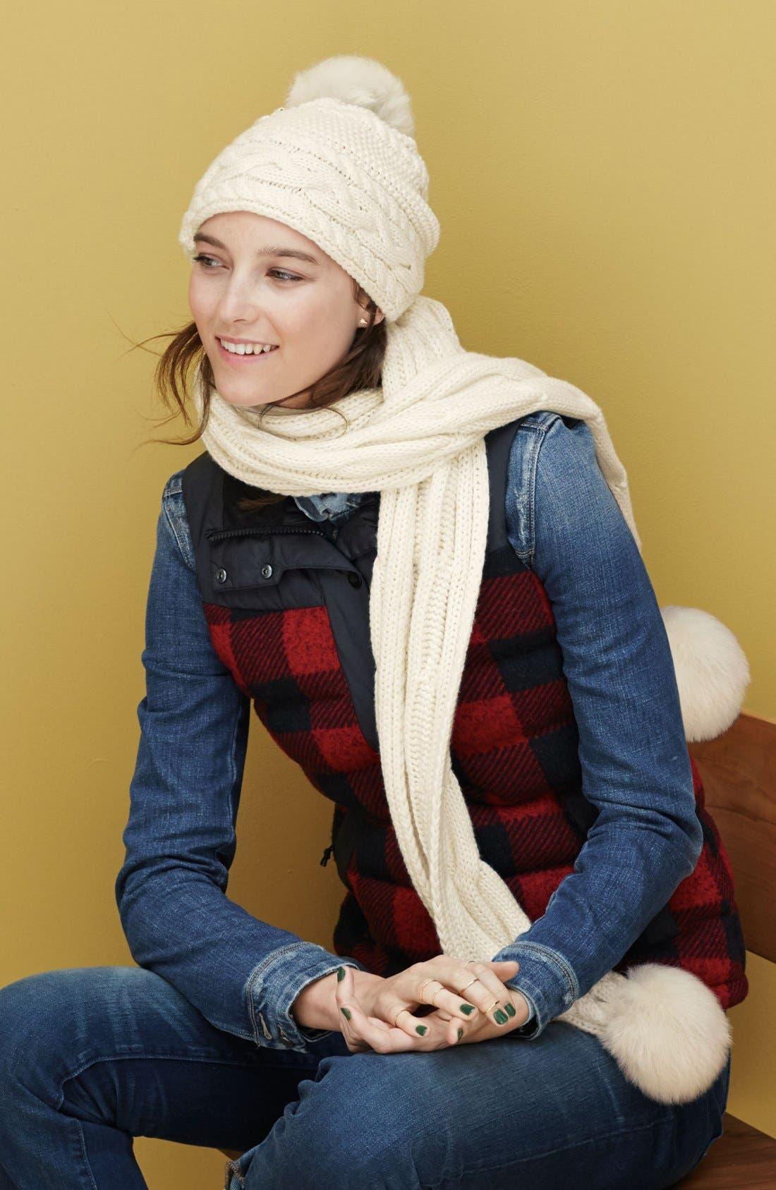 Alternate Image 3  - UGG® Cable Knit Genuine Shearling Pom Beanie