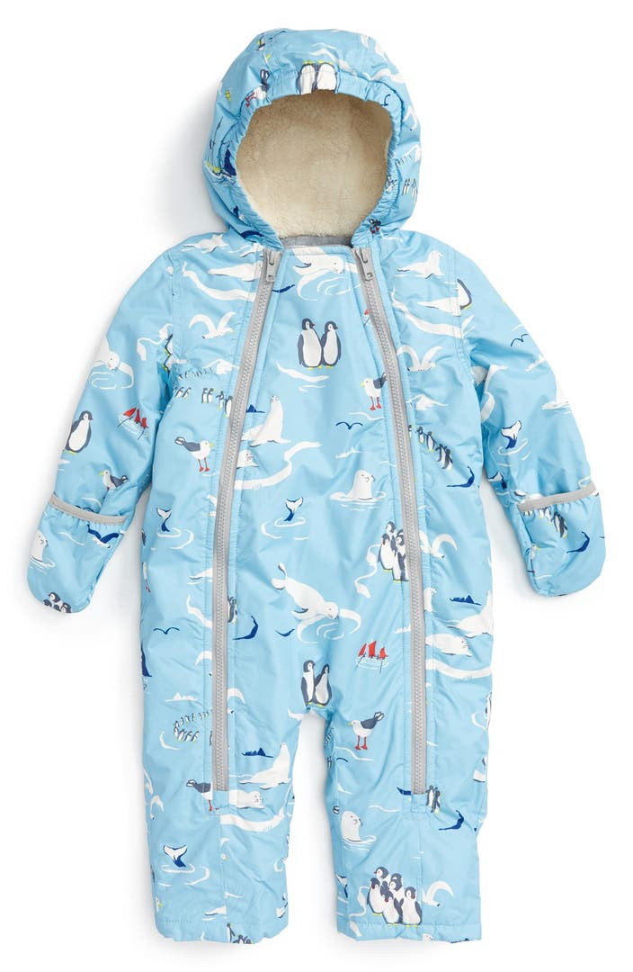 Baby's Padded & Lined Snowsuit: £, Vertbaudet Coming in either plain navy or fuchsia, there's a luxurious velvety furry lining to this comfortable suit with a soft cotton-mix exterior.
