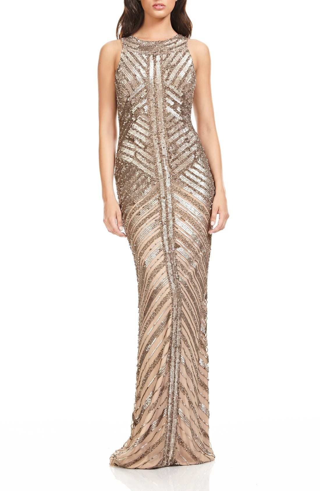 Main Image - Theia Sequin Column Gown