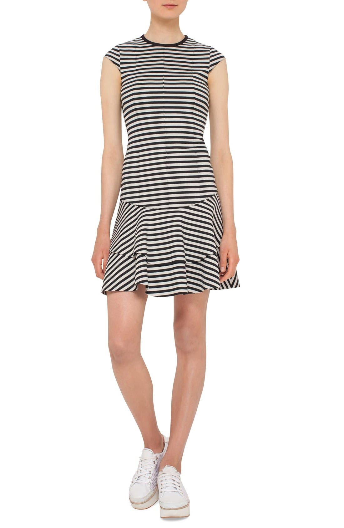 AKRIS PUNTO Stripe Flounce Dress