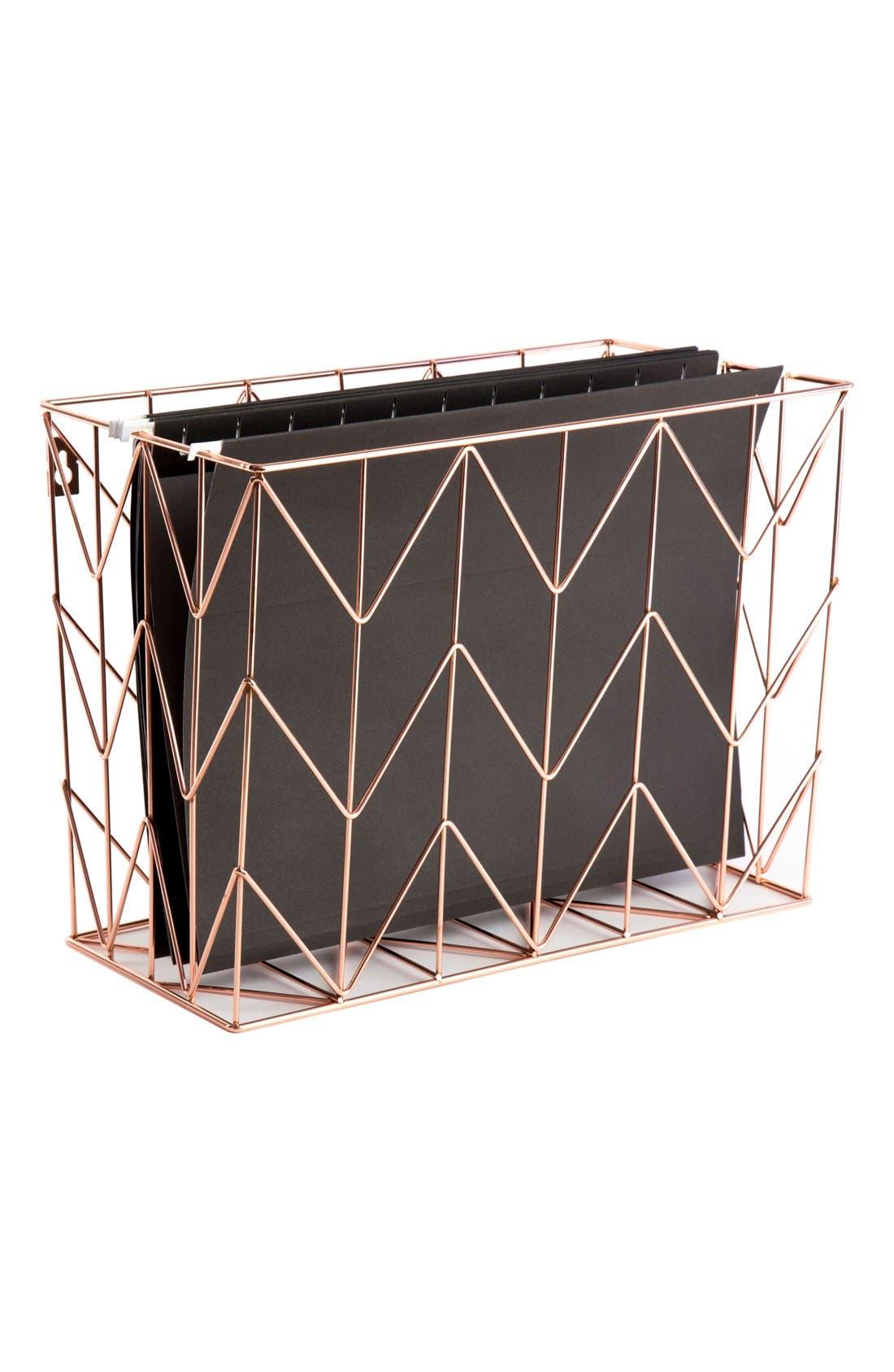 Alternate Image 1 Selected - U Brands Rose Goldtone Hanging File Basket