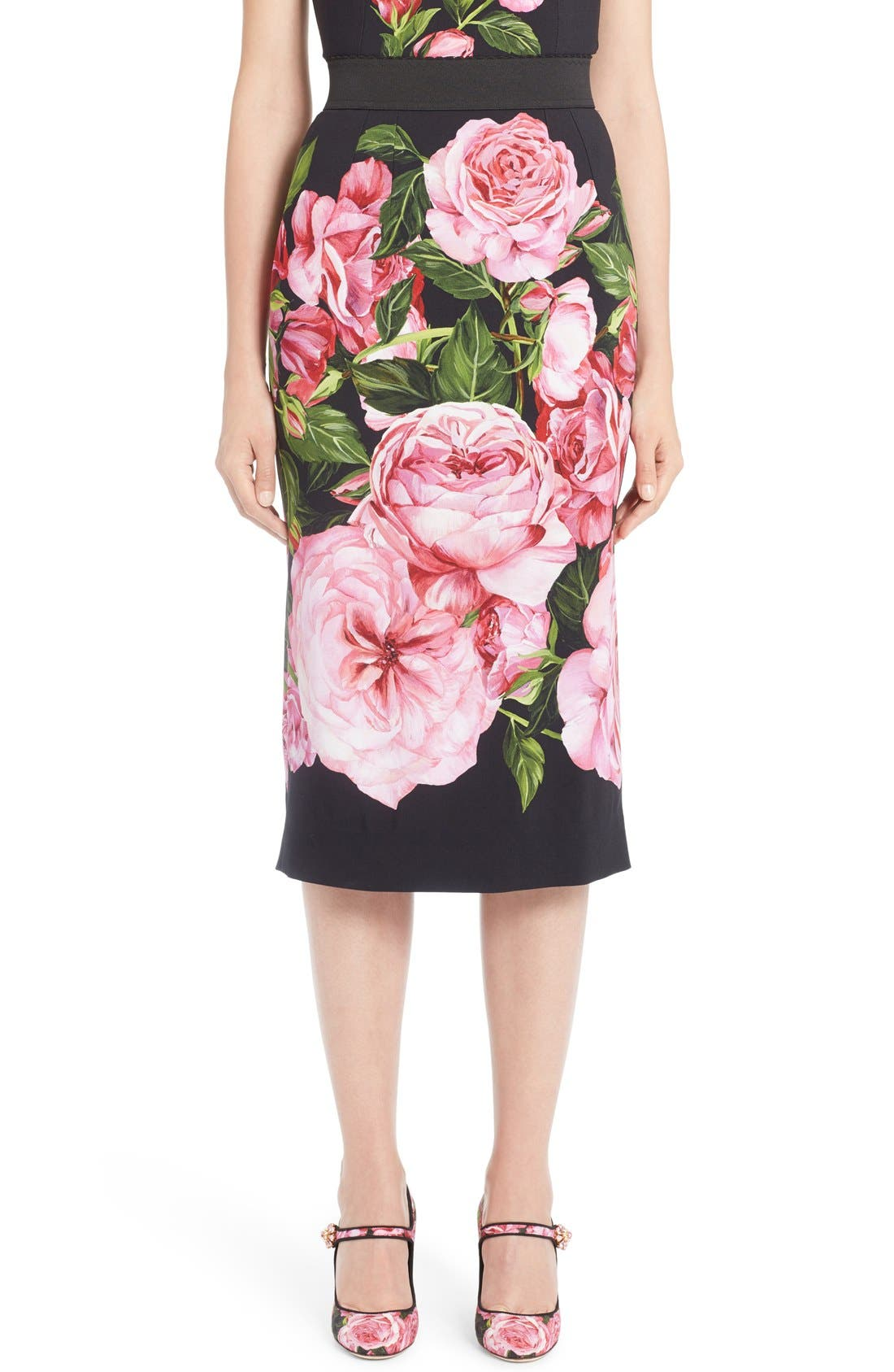 DOLCE&GABBANA Rose Print Cady Pencil Skirt