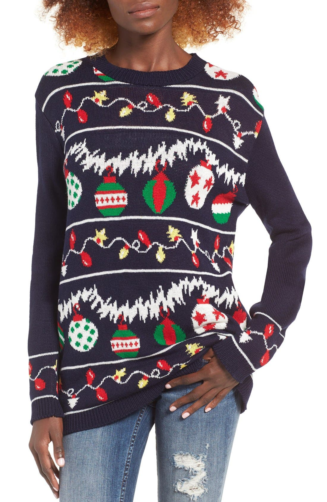 Alternate Image 1 Selected - Cotton Emporium Ornament Christmas Sweater