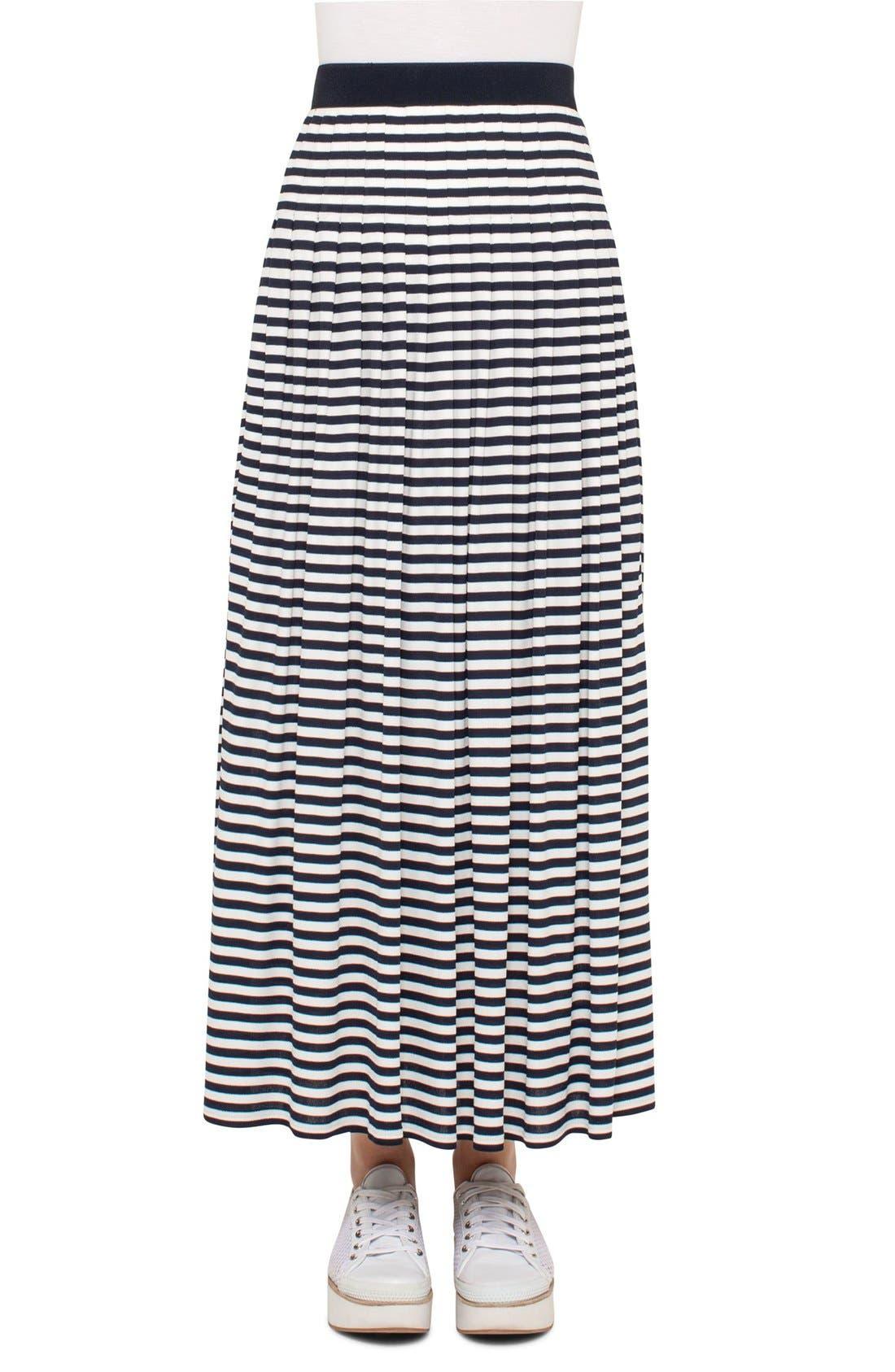 AKRIS PUNTO Stripe Jersey Maxi Skirt