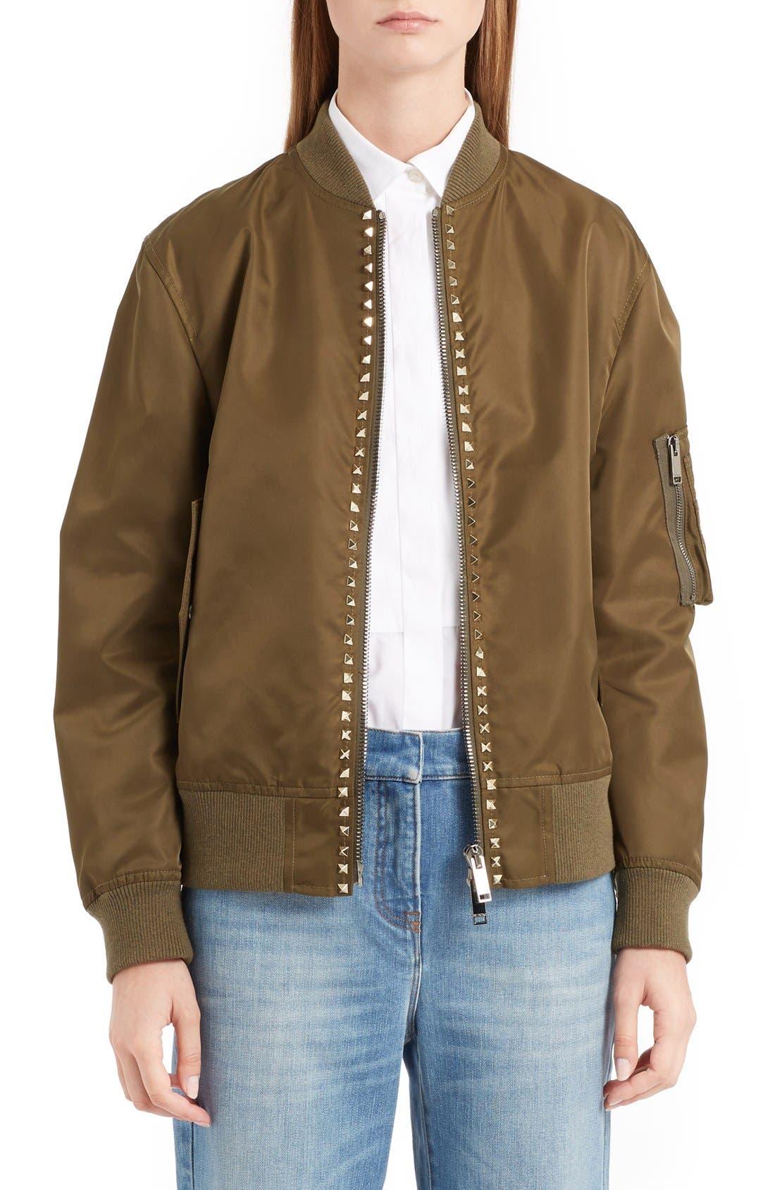 Main Image - Valentino Rockstud Bomber Jacket