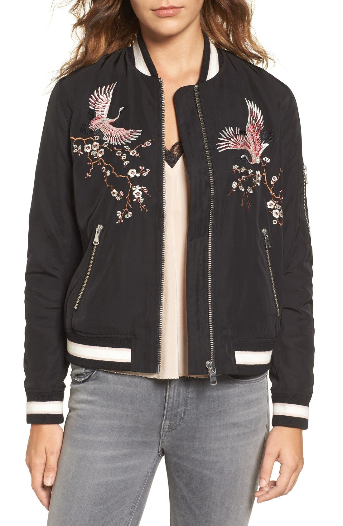 Main Image - Trouvé Embroidered Bomber Jacket