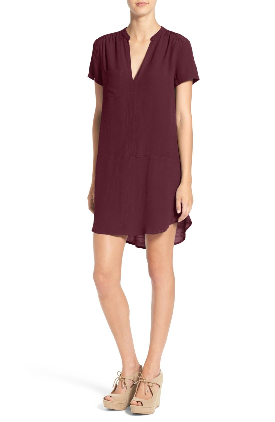 Alternate Image 1 Selected - Lush Split Neck Shift Dress