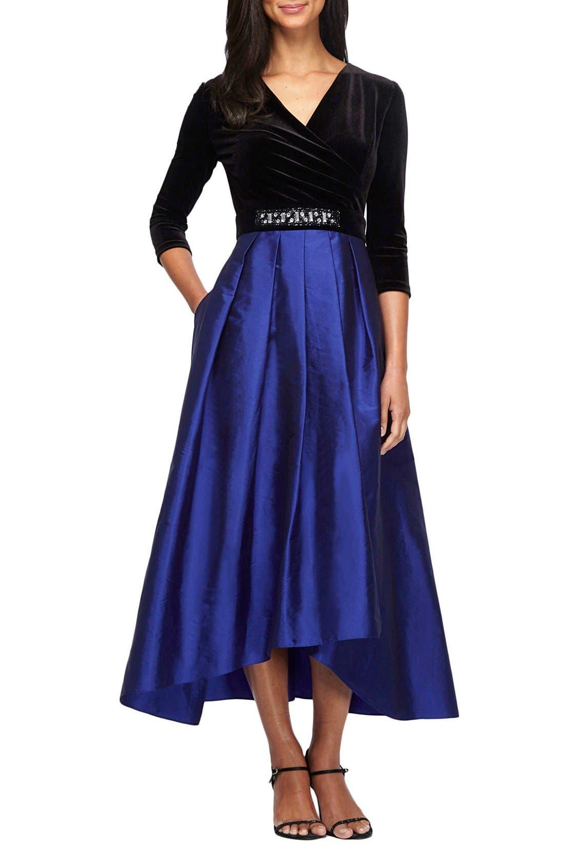 Main Image - Alex Evenings Velvet & Taffeta Fit & Flare Dress