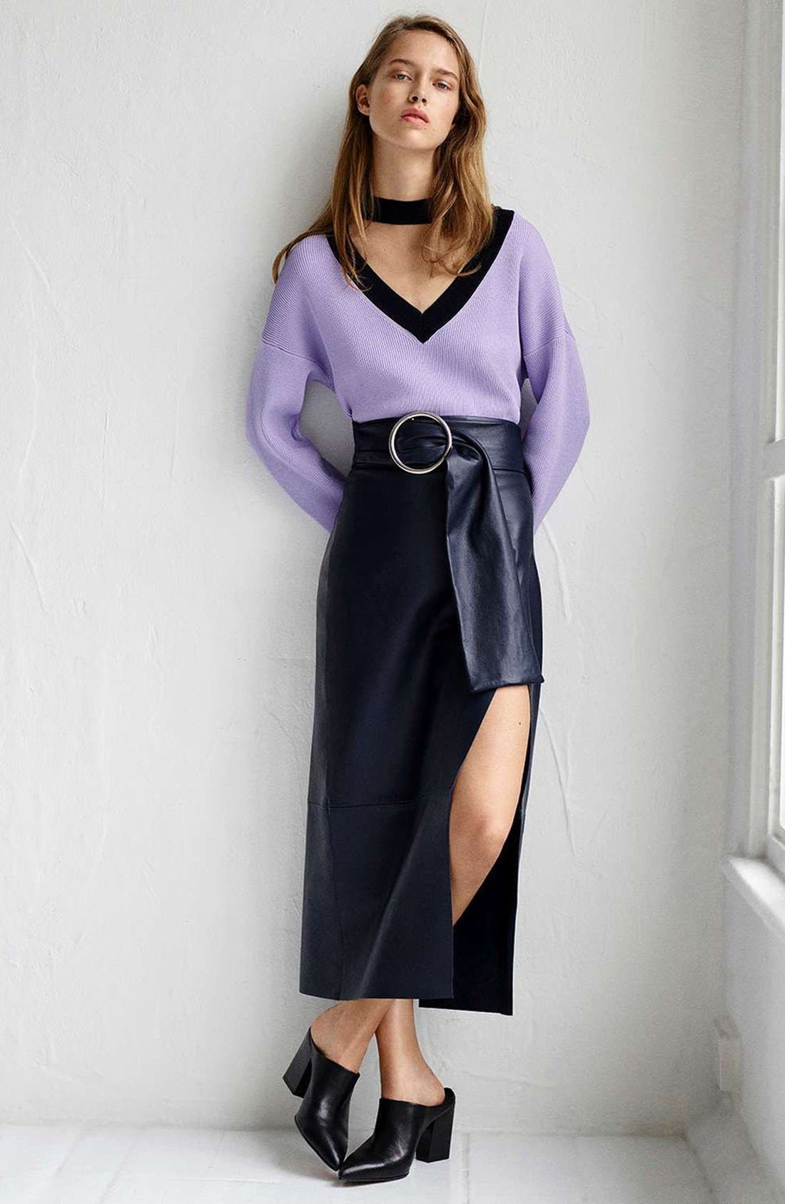 Alternate Image 2  - Topshop Boutique Belted Leather Skirt