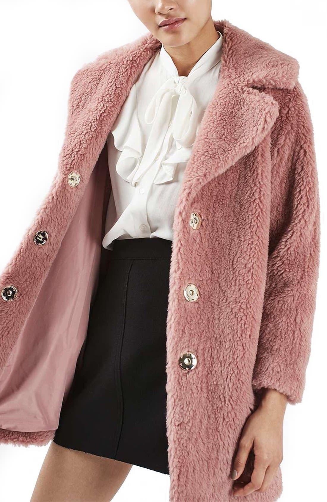 Main Image - Topshop Faux Fur Coat