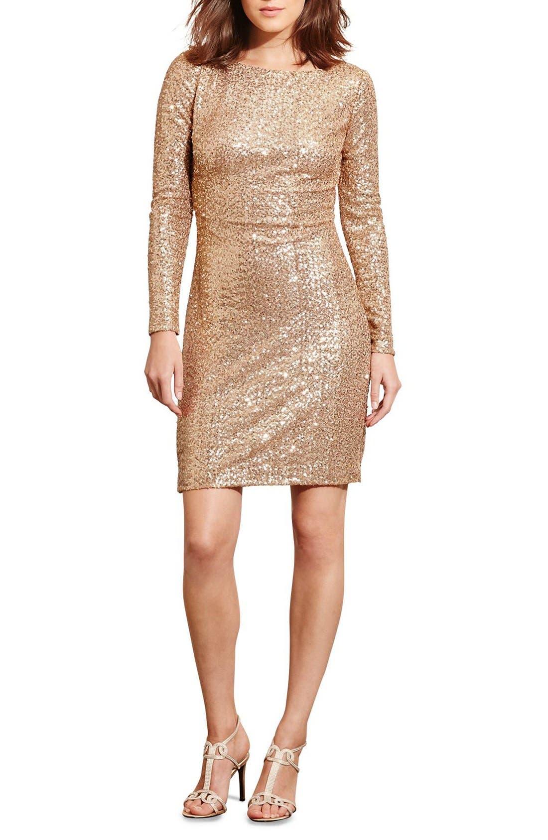 Alternate Image 3  - Lauren Ralph Lauren Backless Sequin Dress (Petite)