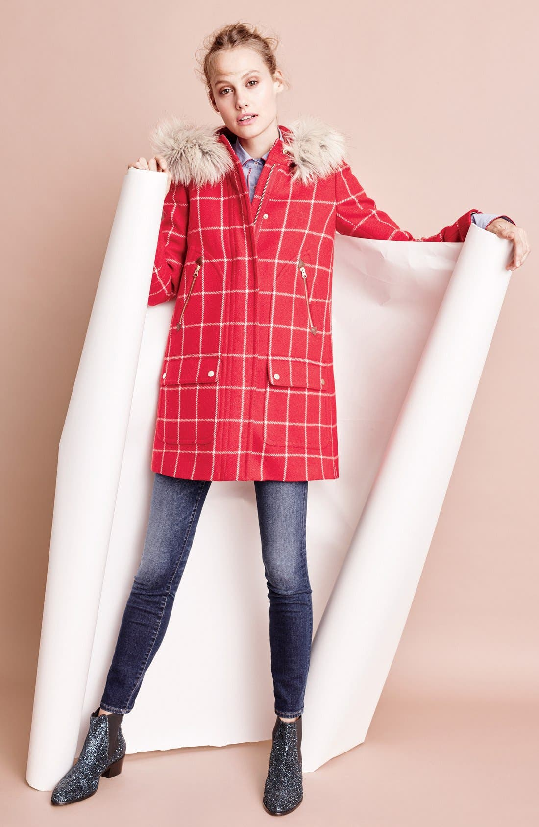 Alternate Image 4  - J.Crew Windowpane Check Chateau Parka (Regular and Petite)