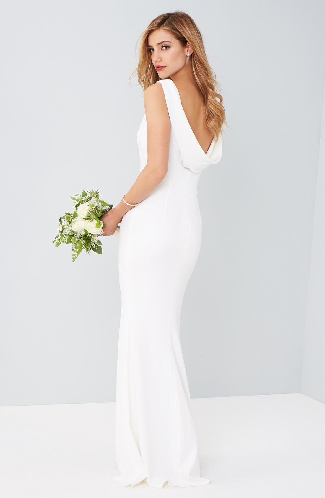 Alternate Image 2  - Katie May Drape Back Crepe Gown
