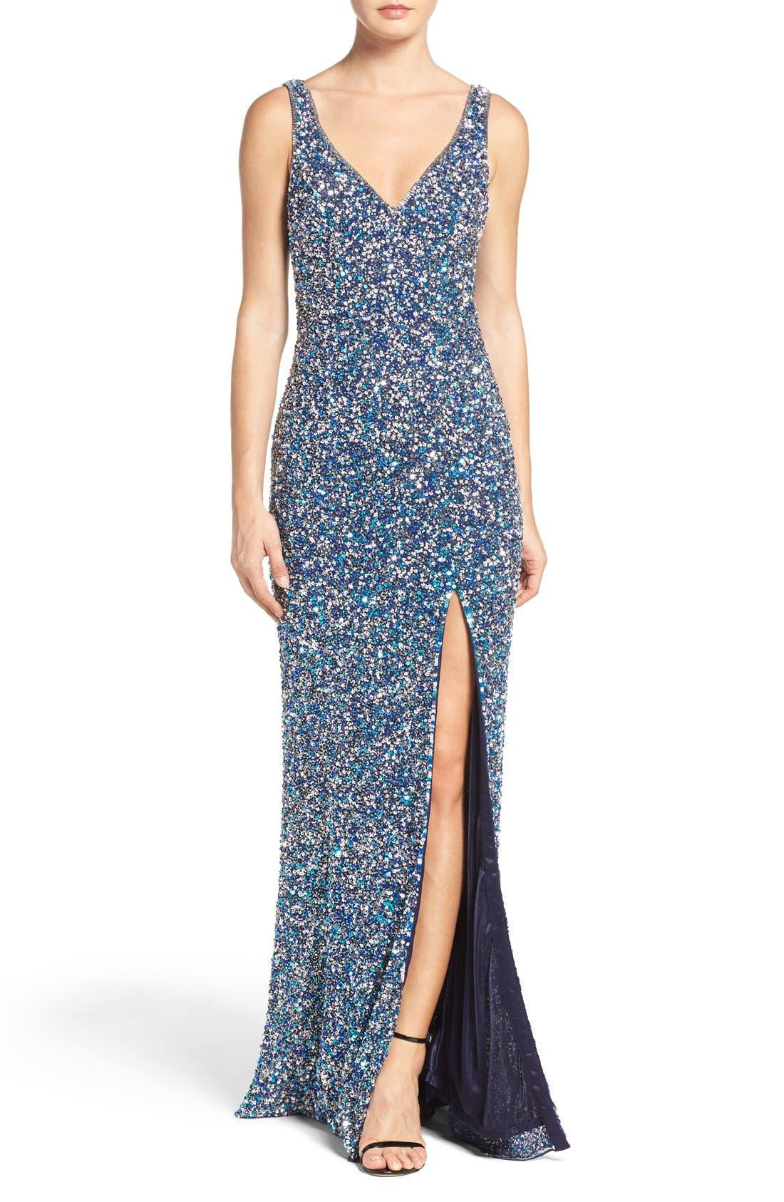 Alternate Image 1 Selected - Mac Duggal Sequin Slit Gown