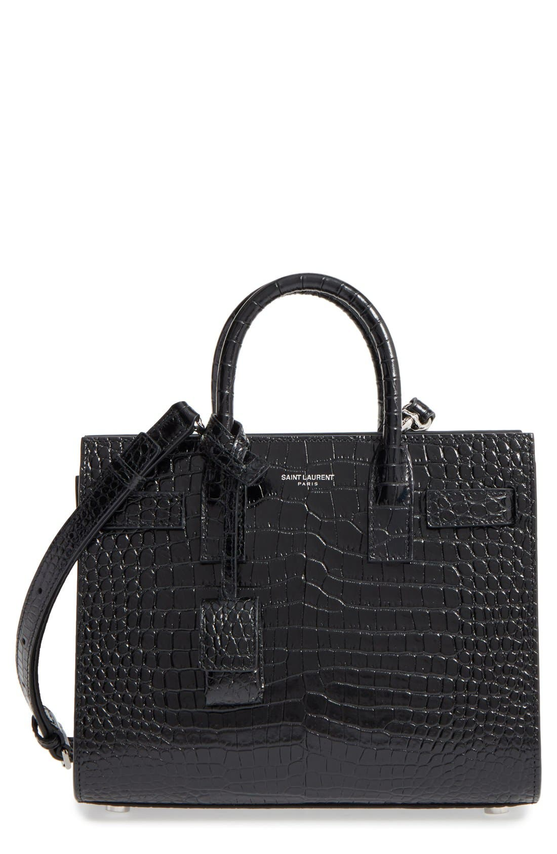 Main Image - Saint Laurent Nano Sac de Jour Croc Embossed Leather Tote