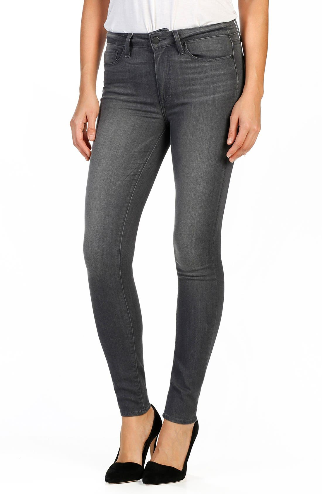 PAIGE Transcend Hoxton High Waist Ultra Skinny Jeans (London Grey)