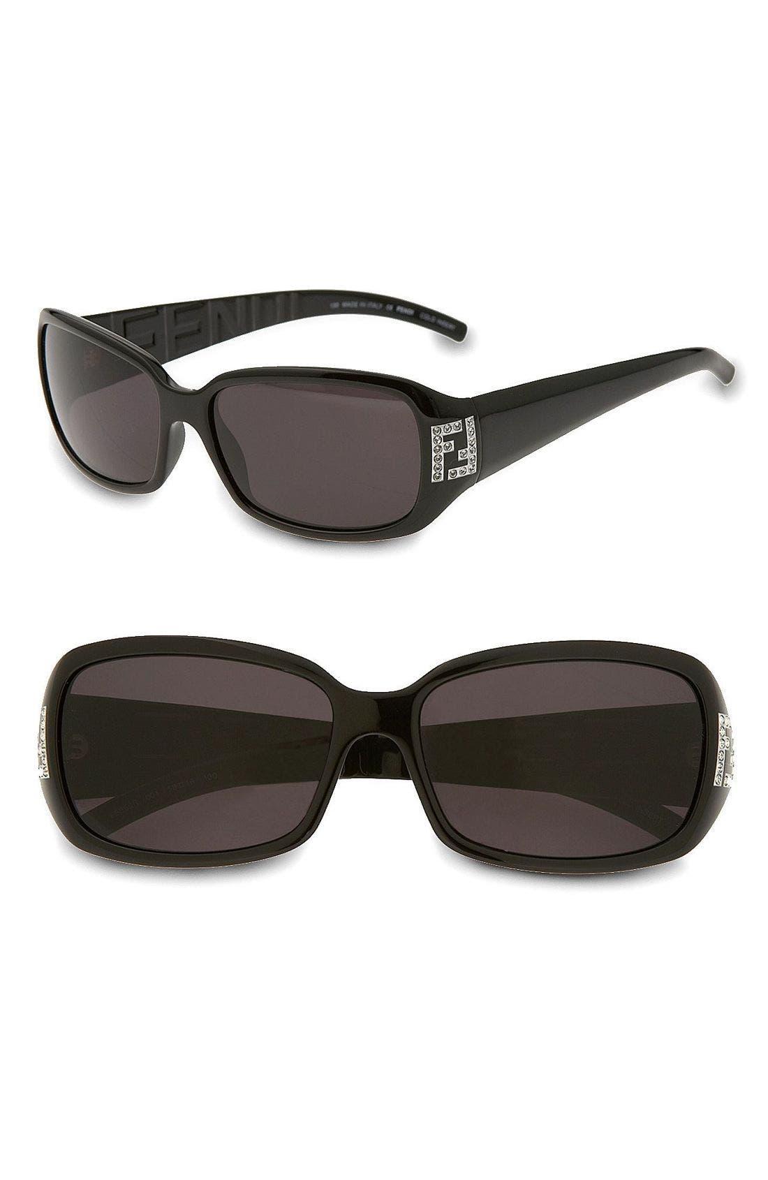Main Image - Fendi Crystal Logo Rectangle Sunglasses