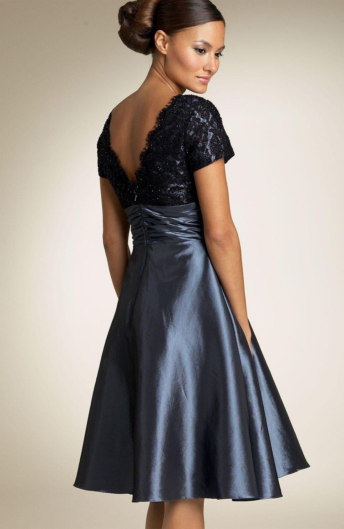 Alternate Image 2  - JS Boutique Cap Sleeve Lace & Taffeta Dress