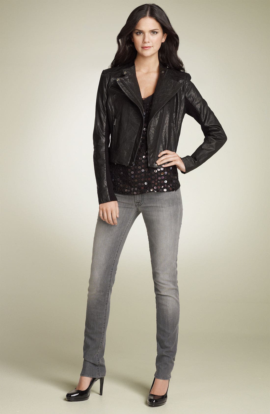 Alternate Image 2  - Hinge® Leather Biker Jacket